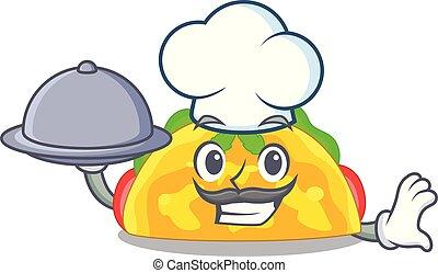 chef, con, alimento, omelatte, en, un, tostado, caricatura, cacerola