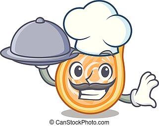 chef, con, alimento, pollo, coxinha, aislado, en, un, mascota