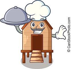 chef, con, alimento, pollo, en, un, en, charater, gallinero