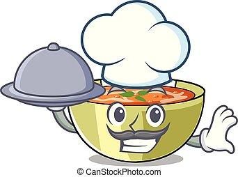 chef, con, alimento, sopa de lenteja, en, carácter, tabla de madera