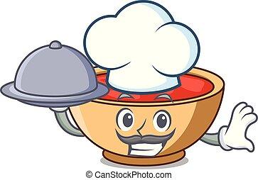 chef, con, alimento, sopa de tomate, carácter, caricatura