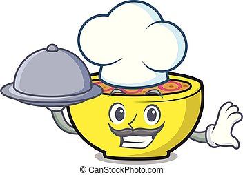 chef, con, alimento, sopa, unión, mascota, caricatura