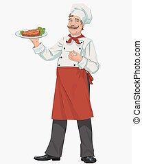 chef, con, cocinado, parrilla, filete