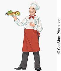 chef, con, cocinado, pez