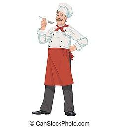 chef, con, cuchara