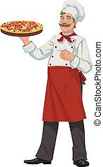 chef, con, fresco, pizza, -, illustratio