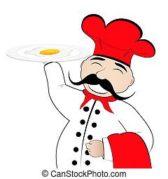 chef, con, huevos revueltos, en, un, placa