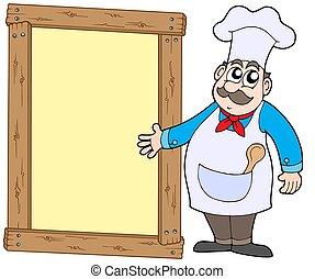 chef, con, legno, pannello