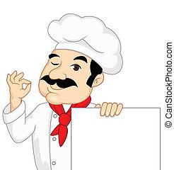 chef, con, muestra en blanco