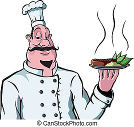 chef, con, placa del alimento