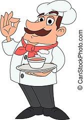 chef, con, plate de, sopa, 2