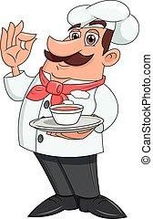 chef, con, plate de, sopa