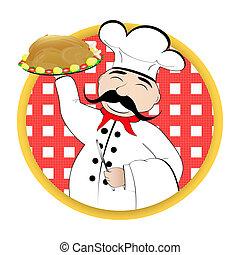 chef, con, pollo, en, un, placa