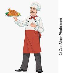 chef, con, pollo
