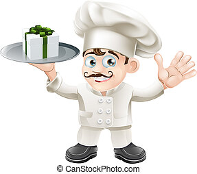chef, con, presente