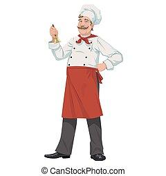 chef, con, un, campana