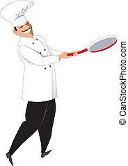 chef, con, un, sartén