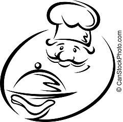 chef, con, vassoio