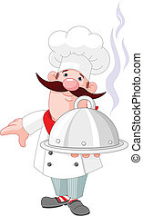 Chef cook and plate - Illustration of chef cook and plate
