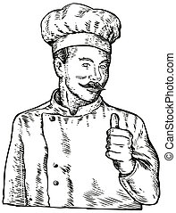 Chef Cook Baker - illustration of a chef, cook or baker done...