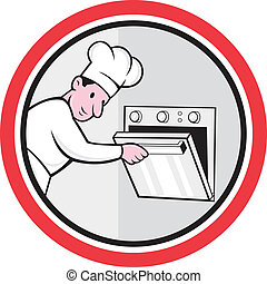 Chef Cook Baker Opening Oven Circle Cartoon