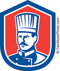Chef Cook Baker Shield Retro