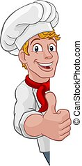 Chef Cook Baker Sign Thumbs Up Cartoon