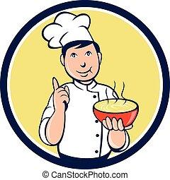 Chef Cook Bowl Pointing Circle Cartoon