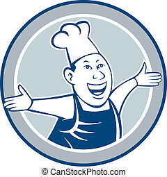 Chef Cook Happy Arms Out Circle Cartoon