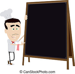 Chef Cook Holding A Blackboard - Illustration of a young ...