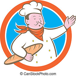 Chef Cook Holding Baguette Circle Cartoon