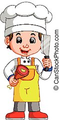 Chef Cook Holding Cleaver Knife And Meat Smiling Cartoon