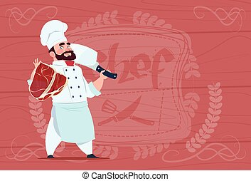 Chef Cook Holding Cleaver Knife And Meat Smiling Cartoon...
