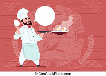 Chef Cook Holding Frying Pan With Eggs Smiling Cartoon Chief In White Restaurant Uniform Over Wooden Textured Background