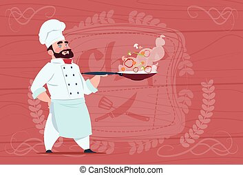 Chef Cook Holding Frying Pan With Hot Food Smiling Cartoon In White Restaurant Uniform Over Wooden Textured Background