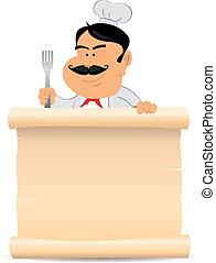 Chef Cook Holding Parchment Menu