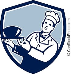 Chef Cook Holding Serving Bowl Shield Retro