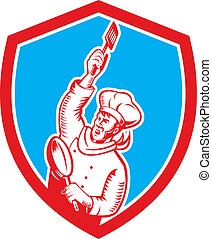 Chef Cook Holding Spatula Frying Pan Shield Woodcut