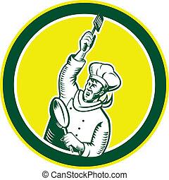 Chef Cook Holding Spatula Pan Woodcut