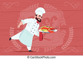 Chef Cook Holding Tray With Lobster Smiling Cartoon Chief In White Restaurant Uniform Over Wooden Textured Background