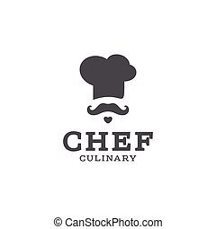 chef cook logo icon toque, chefs hat vector trend flat style brand mustache beard stylinga