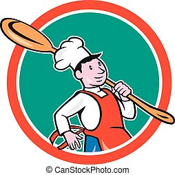 Chef Cook Marching Spoon Circle Cartoon