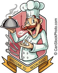 chef cook meat with pan