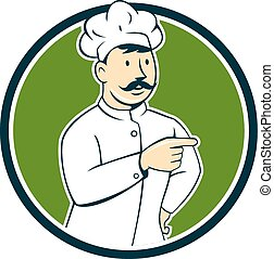 Chef Cook Mustache Pointing Circle Cartoon