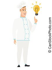 Chef cook pointing at bright idea light bulb.