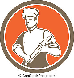 Chef Cook Rolling Pin Circle Retro