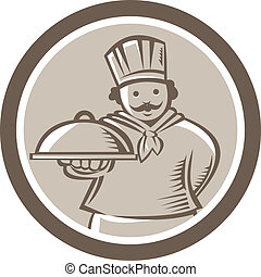 Chef Cook Serving Food Platter Circle - Illustration of a...