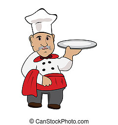Chef cook with a plate in his hand