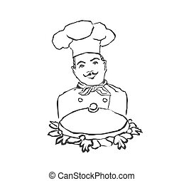 chef cook with a tray doodle illustration