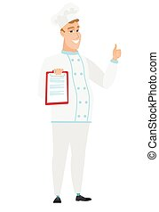 Chef cook with clipboard giving thumb up.
